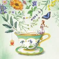 Carte Anniversaire Nina Chen Tasse, Fleurs et Papillons