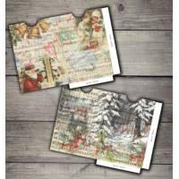 Enveloppes cadeau vintage Noël paquet de 2 Père Noël et Chorale