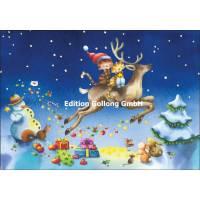 Carte double Joyeux Noël ou Nouvel an Nina Chen Chatons sur le Renne