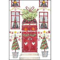 Carte double Joyeux Noël ou Nouvel an La Porte rouge décorée