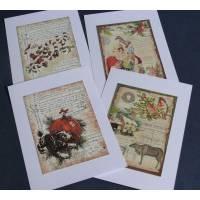 Cartes Joyeux Noël Père Noël, Chien, paquet de 4 cartes assorties