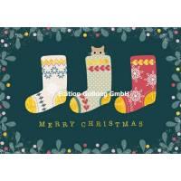 Carte dble Joyeux Noël ou Nouvel an Mila Chaussettes et Chat