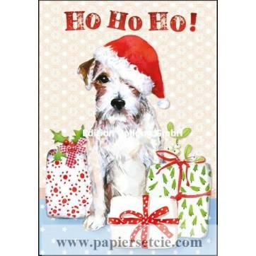 Carte dble Joyeux Noël ou Nouvel an  HO HO HO Chien
