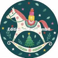 Carte Joyeux Noêl ou Nouvel an Tabula Rosi Cheval à bascule