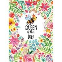 """Carte Anniversaire """"Queen of the day"""" Abeille et Fleurs"""