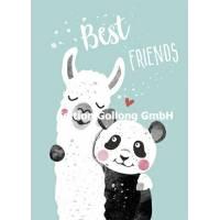 """Carte Anniversaire """"Best Friends"""" Panda et Lama"""