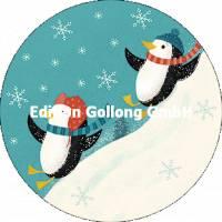 Carte Nouvel an ronde Les pingouins jouant dans la neige