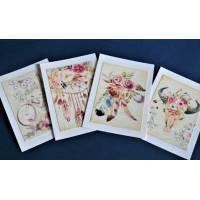Cartes Anniversaire vintage, Style Boho, paquet de 4 cartes