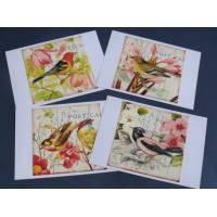 Cartes Anniversaire vintage, Oiseaux et Fleurs, paquet de 4 cartes