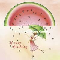 Carte Anniversaire Nina Chen Happy Birthday Pastèque