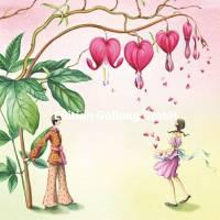 Carte Nina Chen Couple et Fleurs en Coeur