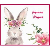 Carte de Pâques Lapinette et Eglantines