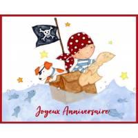 Carte Anniversaire enfants Petit Pirate et son Chien
