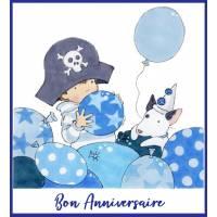 Carte Anniversaire enfants Petit Pirate et Ballons