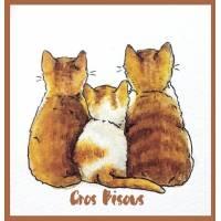 """Carte """"Gros Bisous"""" Trois Minous roux"""