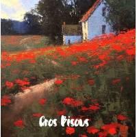 Carte Gros Bisous Peinture Fleurs roses et bleues