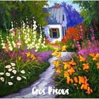 Carte Gros Bisous Peinture Allée Fleurie