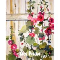 Carte Gros Bisous Aquarelle Roses Tremières