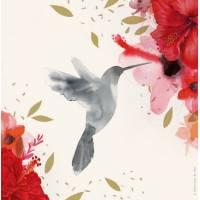 "Carte Anniversaire Tifalia ""Colibri et Fleurs"""