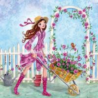Carte Anniversaire Cartita Design jeune Femme au jardin