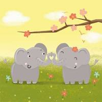 Carte Anniversaire Enfants Petits Eléphants et Paillettes