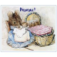 Carte Naissance Beatrix Potter Maman et Bébés souris