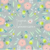 Carte Anniversaire Alice Pelaudeix Fleurs sur fond bleu