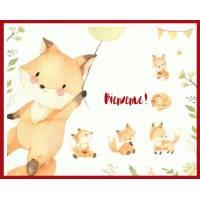 Carte Naissance artisanale Bébés renards