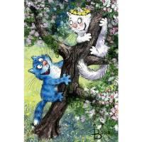 """Carte Chat Rina Zeniuk """"Attrape moi """" dans l'arbre"""