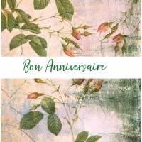 Carte Anniversaire Fleurs aquarelle artisanale Alexia