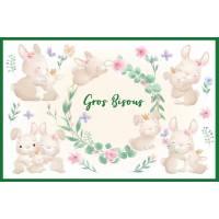 """Carte """"Gros Bisous"""" Petits Lapins et Fleurs"""
