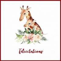 Carte Naissance artisanale Maman Girafe, Bébé et Fleurs