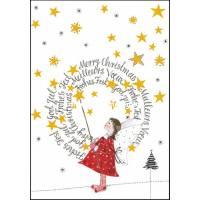 Carte Joyeux Noël ou Nouvel an double Ange et Etoiles