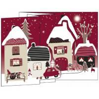 Carte Joyeux Noël et Nouvelle Année 3 D Maisons enneigées