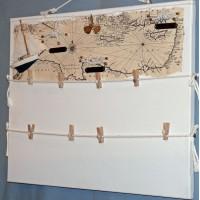 Pêle-Mêle 50x40 blanc à pinces Noeuds marins hélice