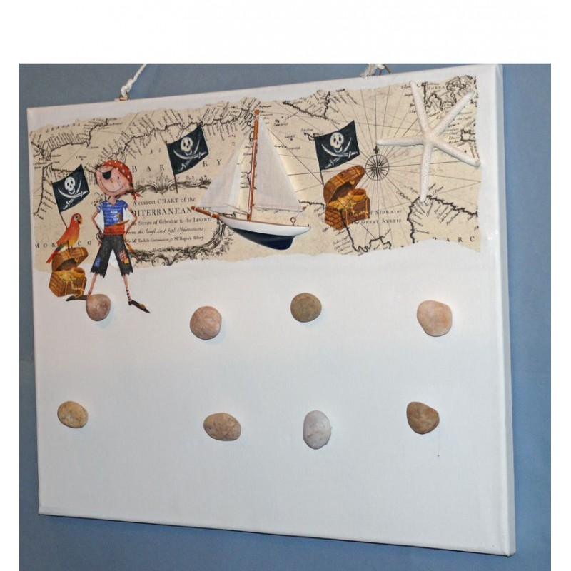 p le m le 50x40 blanc magn tique petit pirate avec bateau. Black Bedroom Furniture Sets. Home Design Ideas