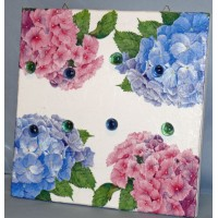 Pêle-Mêle 30x30 blanc magnétique Hortensias bleus et roses