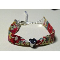 Bracelet liberty of London Claire Aude rouge perle coeur