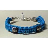 Bracelet macramé turquoise perles métal