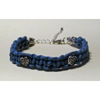 Bracelet macramé bleu jean perles coeur