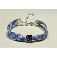 Bracelet liberty of London Glenjade light blue perle coeur metal argentée