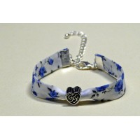Bracelet liberty of London Nina bleu perle coeur metal argentée