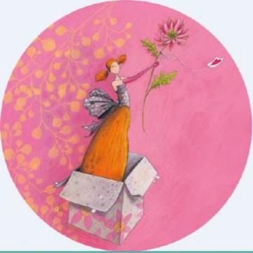 Carte ronde Gaelle Boissonnard Fleur et fille surprise