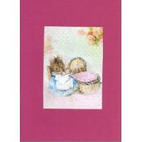 Carte artisanale double rectangulaire Rétro Béatrix Potter  Maman souris et bébés