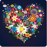 Carte Lali carrée le coeur fleuri