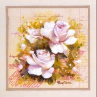 Carte Pascal Cessou  Roses blanches