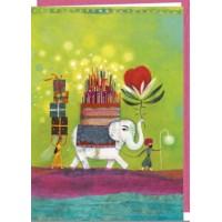 Carte double Muriel Kerba rectangulaire 17 x 12 L'éléphant d'anniversaire