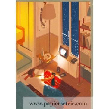 """Carte Pascal Campion """"Soirée d'hiver"""""""