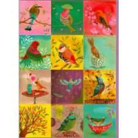 Carte double Izou rectangulaire 17 x 12 Les oiseaux