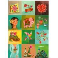 Carte double Izou rectangulaire 17 x 12 Voici des Fleurs
